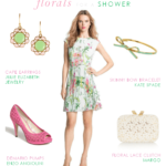 Pink Green White Floral Dress