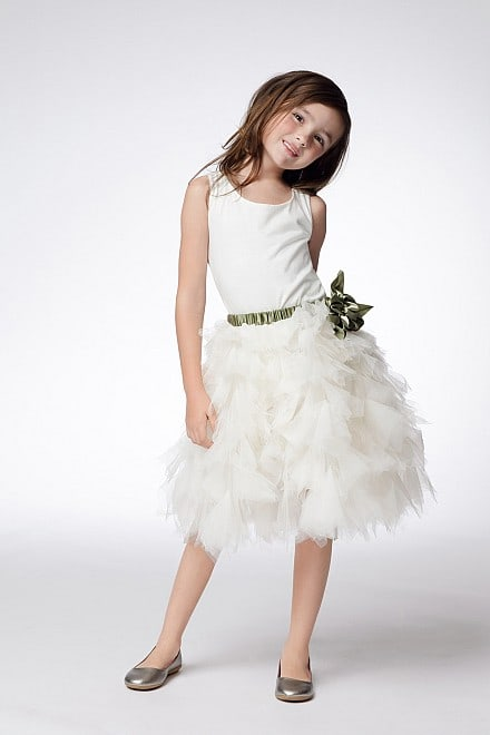White and Tulle Flower Girl Dress