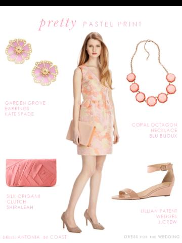 Peach Pink Floral Pastel Print Dress