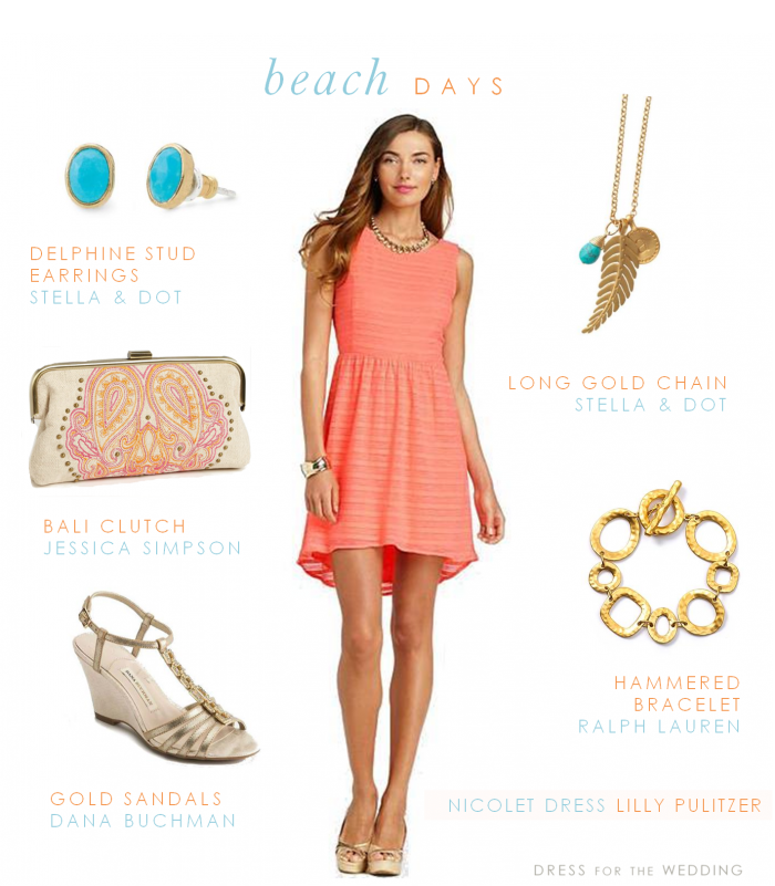 Coral dress with blue and gold accessories for a beach wedding guest