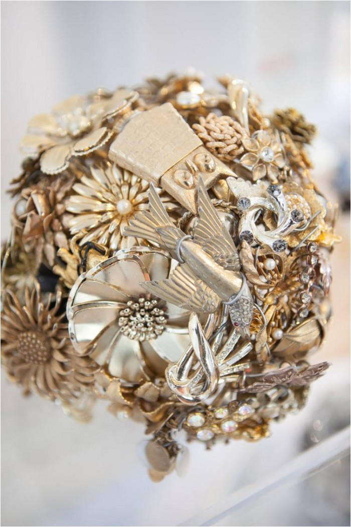 Gold Brooch Bouquet from The Ritzy Rose