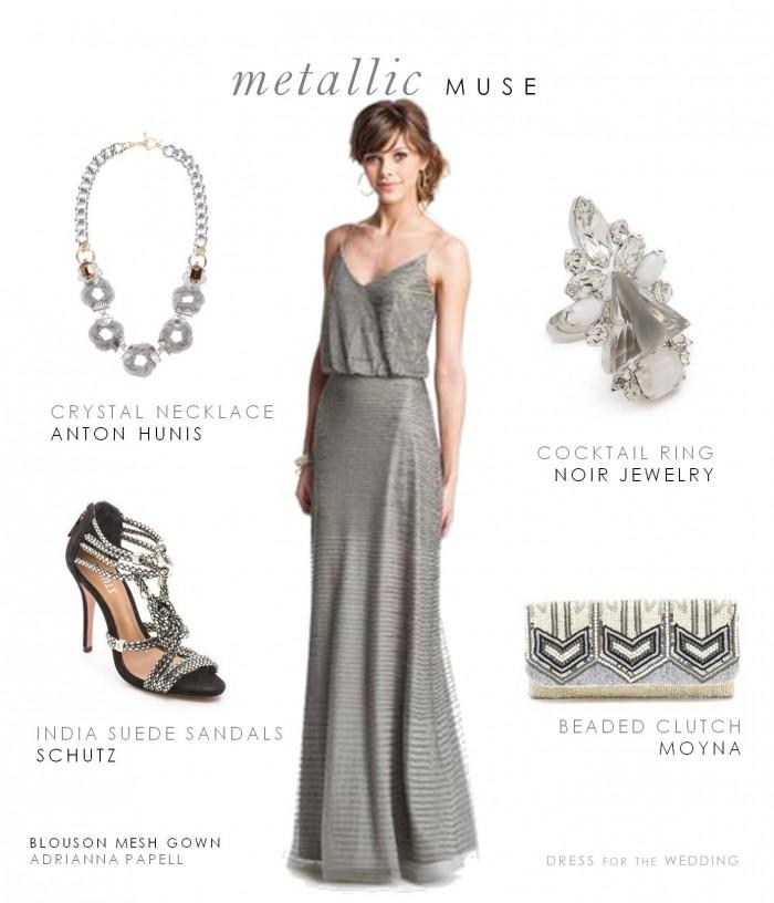 Metallic dress for a city wedding for Metallic bridesmaid dresses wedding