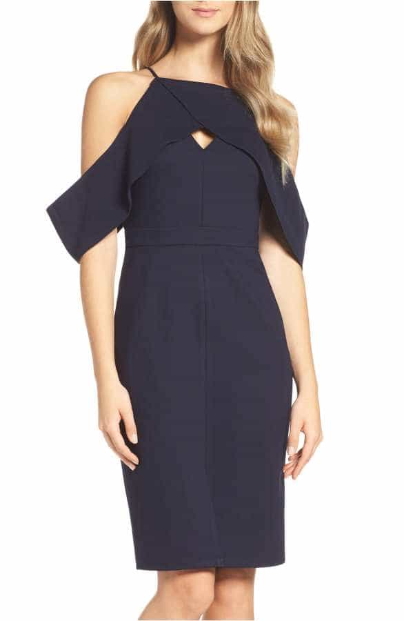 Navy Blue Dress with Cutout Shoulders under 150