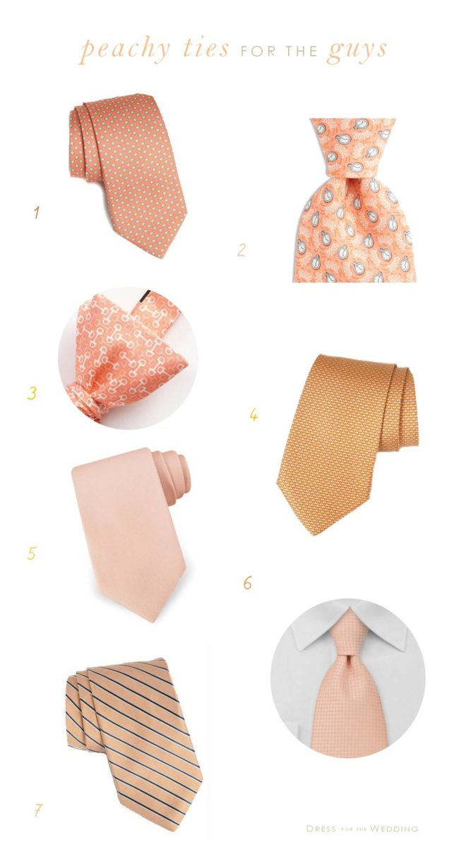 Peach Ties For Grooms and Groomsmen for Weddings