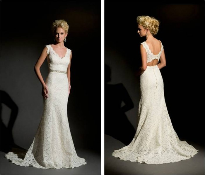 Eugenia Couture Lace keyhole back eco-friendly wedding gowns