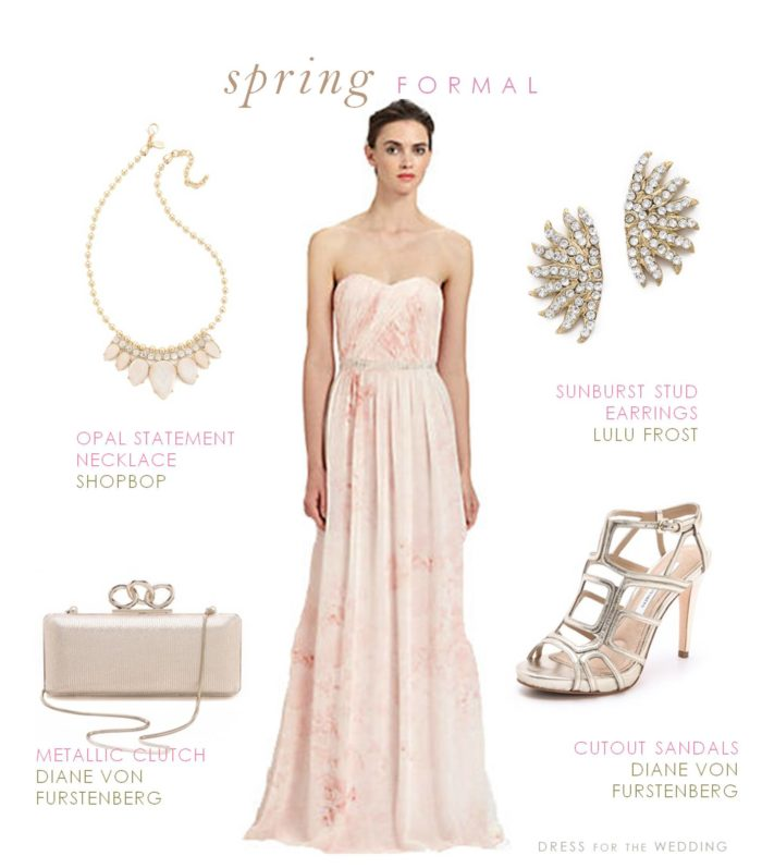 Pink Strapless Chiffon Gown