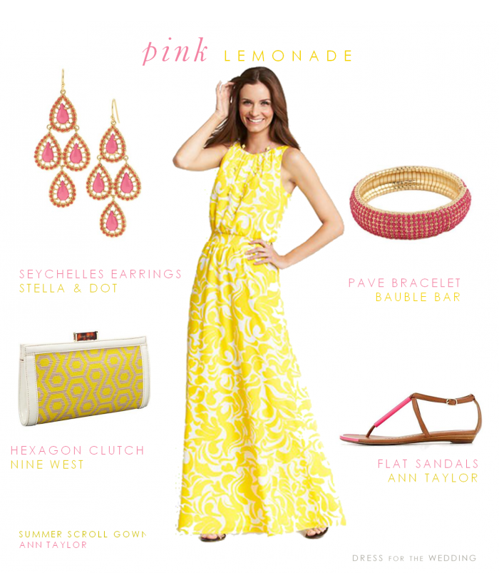 Yellow Dress with Pink Accessories