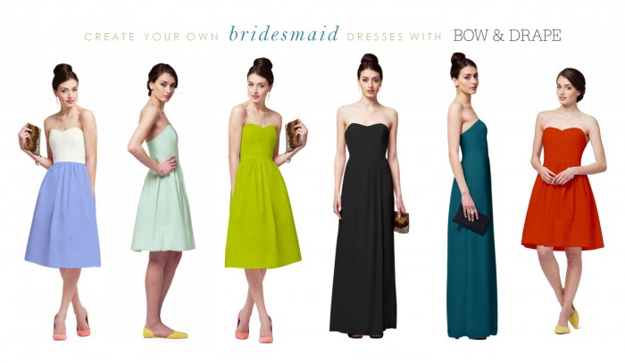 bow and drape bridesmaid dresses