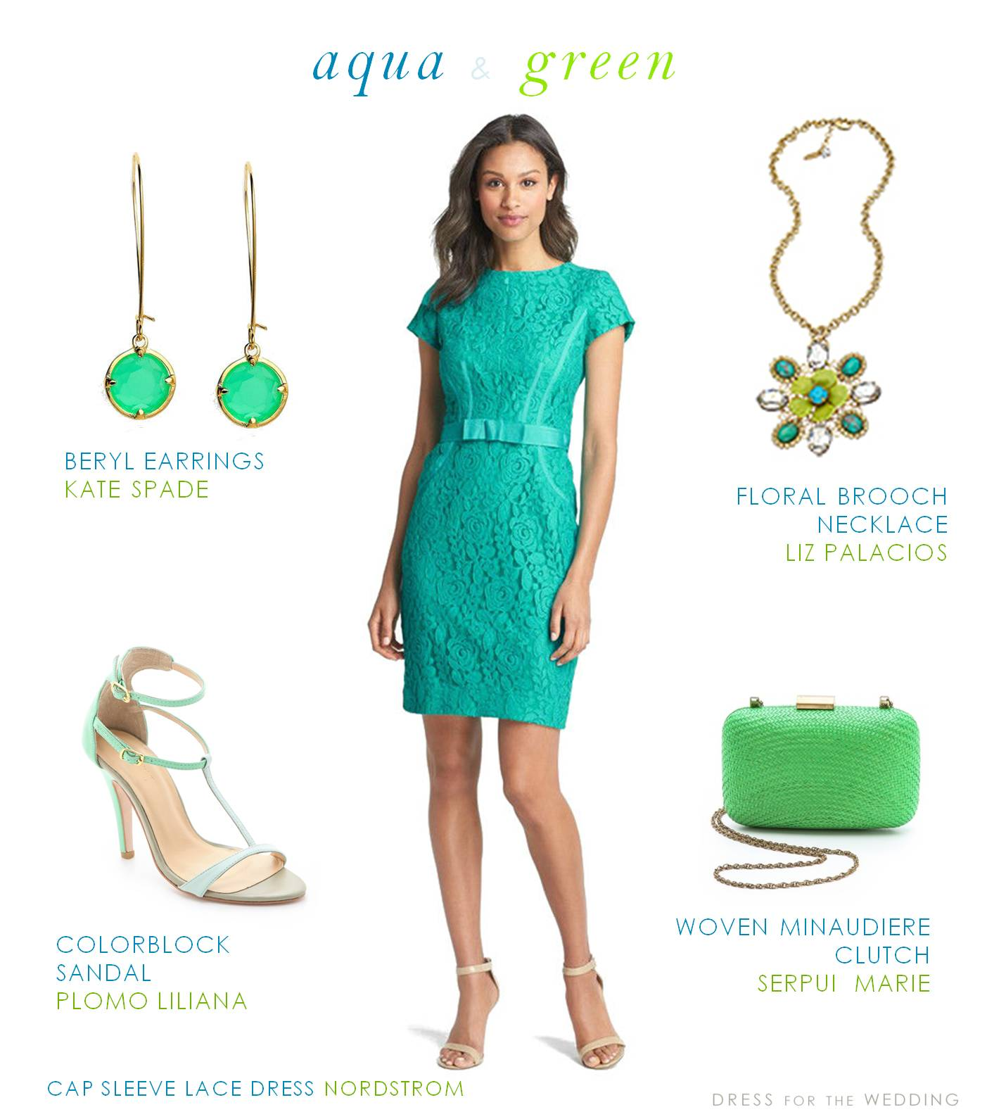 Aqua And Green Dress For A Wedding Guest