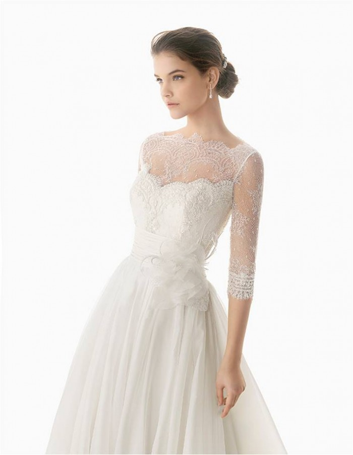 Wedding dress preview rosa clar 2014 for Long sleeve wedding dress topper