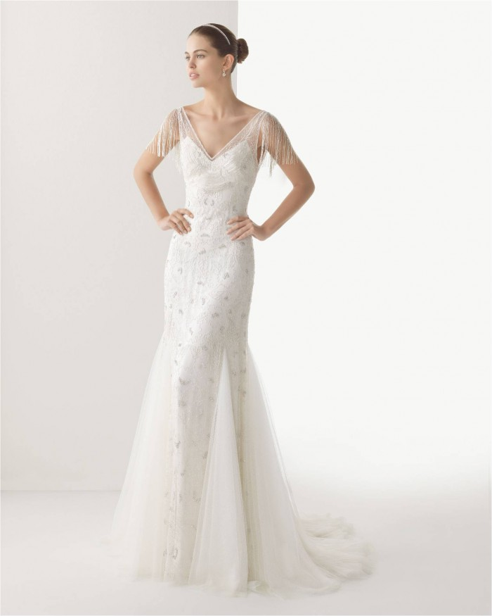 Clio by Rosa Clara A beaded Gatsby style wedding gown