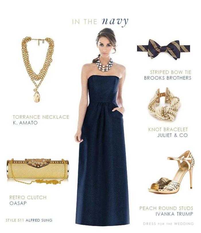 Navy and Gold Bridesmaid