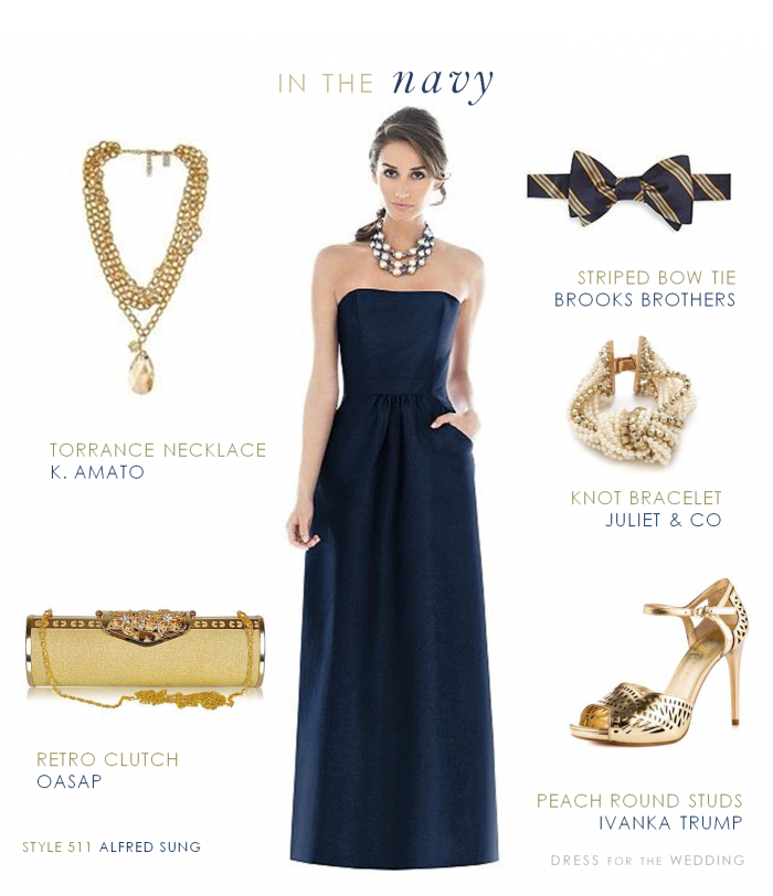 Navy Bridesmaid's Dress with Gold Accessories