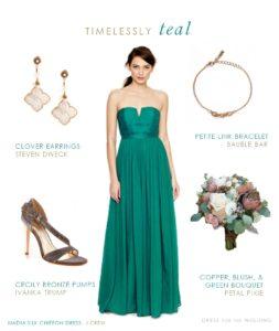 Long Teal Bridesmaid Dress for a Wedding