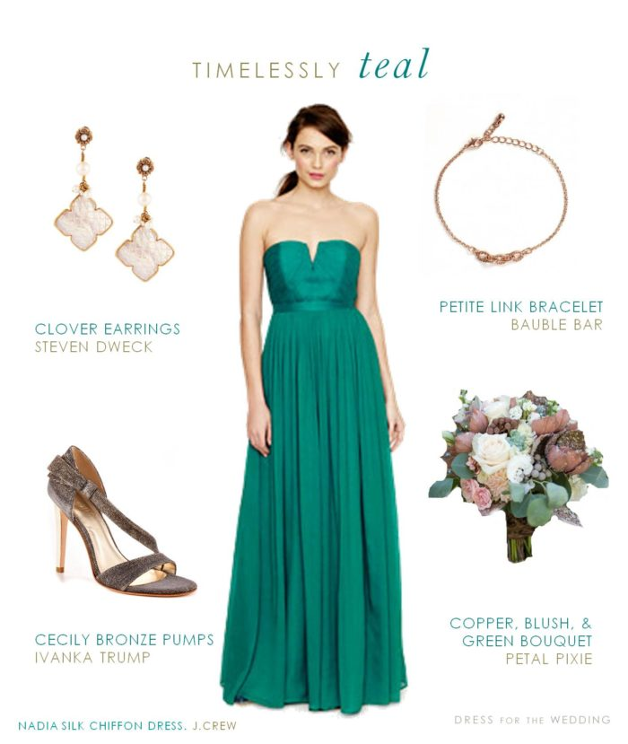 long teal bridesmaid dress for a wedding