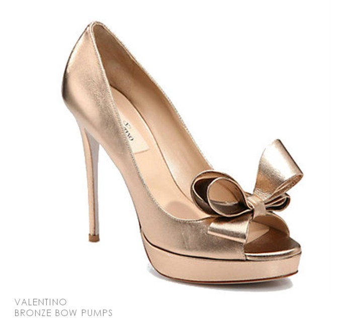 Valentino Bronze Bow Pumps