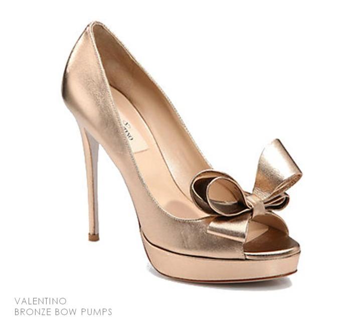 Valentino Bronze Bow Pumps