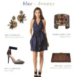 avy blue and bronze dress for a wedding