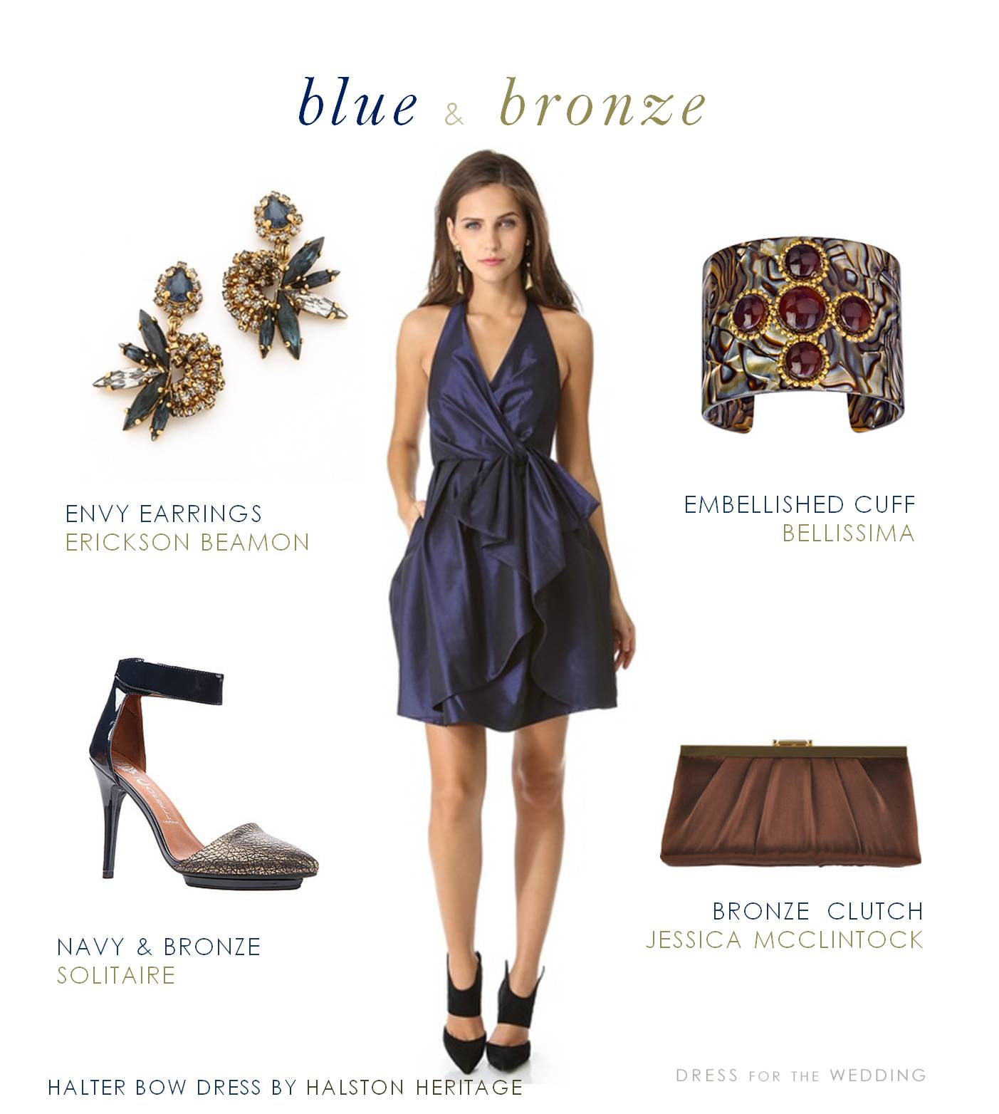 navy blue and bronze dress for a wedding