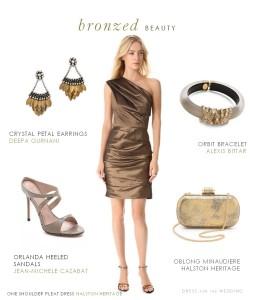 Bronze Cocktail Dress, ress for an autumn wedding