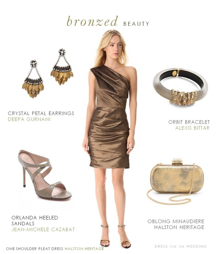 Bronze Cocktail Dress, ress for an autumn wedding