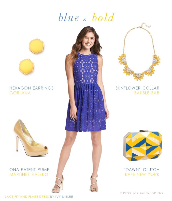 Cobalt blue dress with yellow accessories
