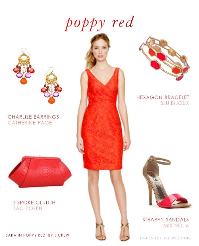 Poppy red bridesmaid dress