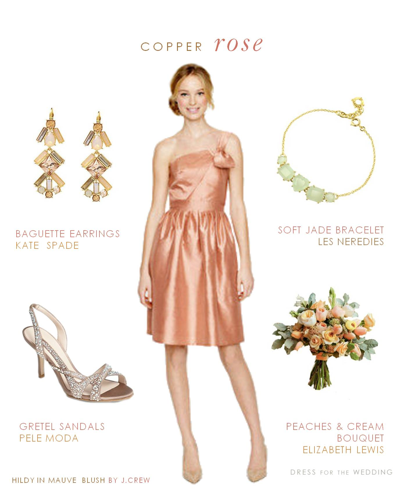 Rose Gold Bridesmaid Dress, Hildy by J.Crew Mauve Blush