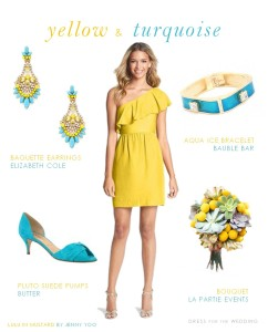 Yellow Dress with Turquoise Accessories