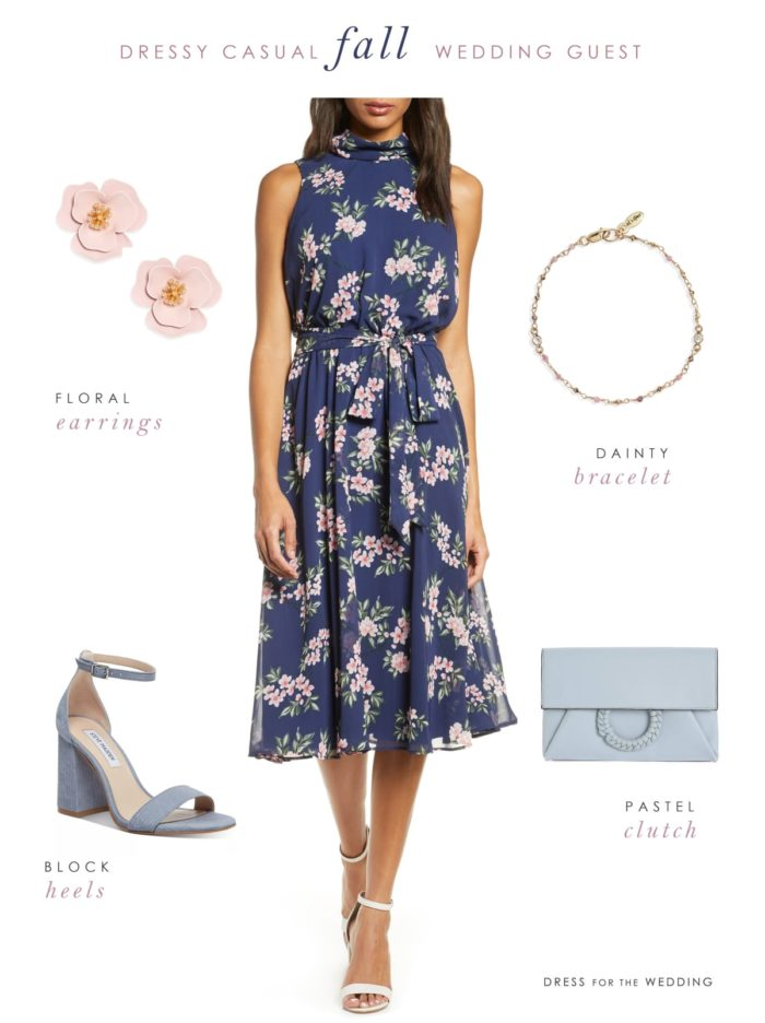 dressy casual fall wedding guest outfit