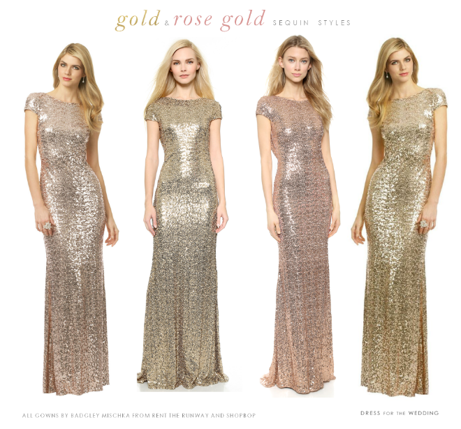 Short sleeve cowl back Badgley Mischka rose gold and gold sequin bridesmaids dresses