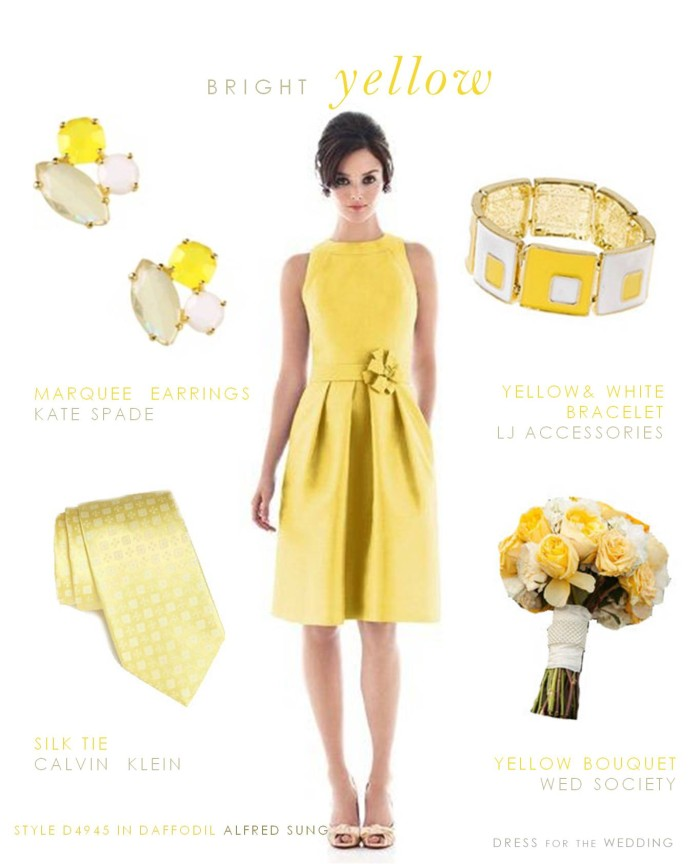Bright yellow bridesmaid dress for a yellow wedding theme