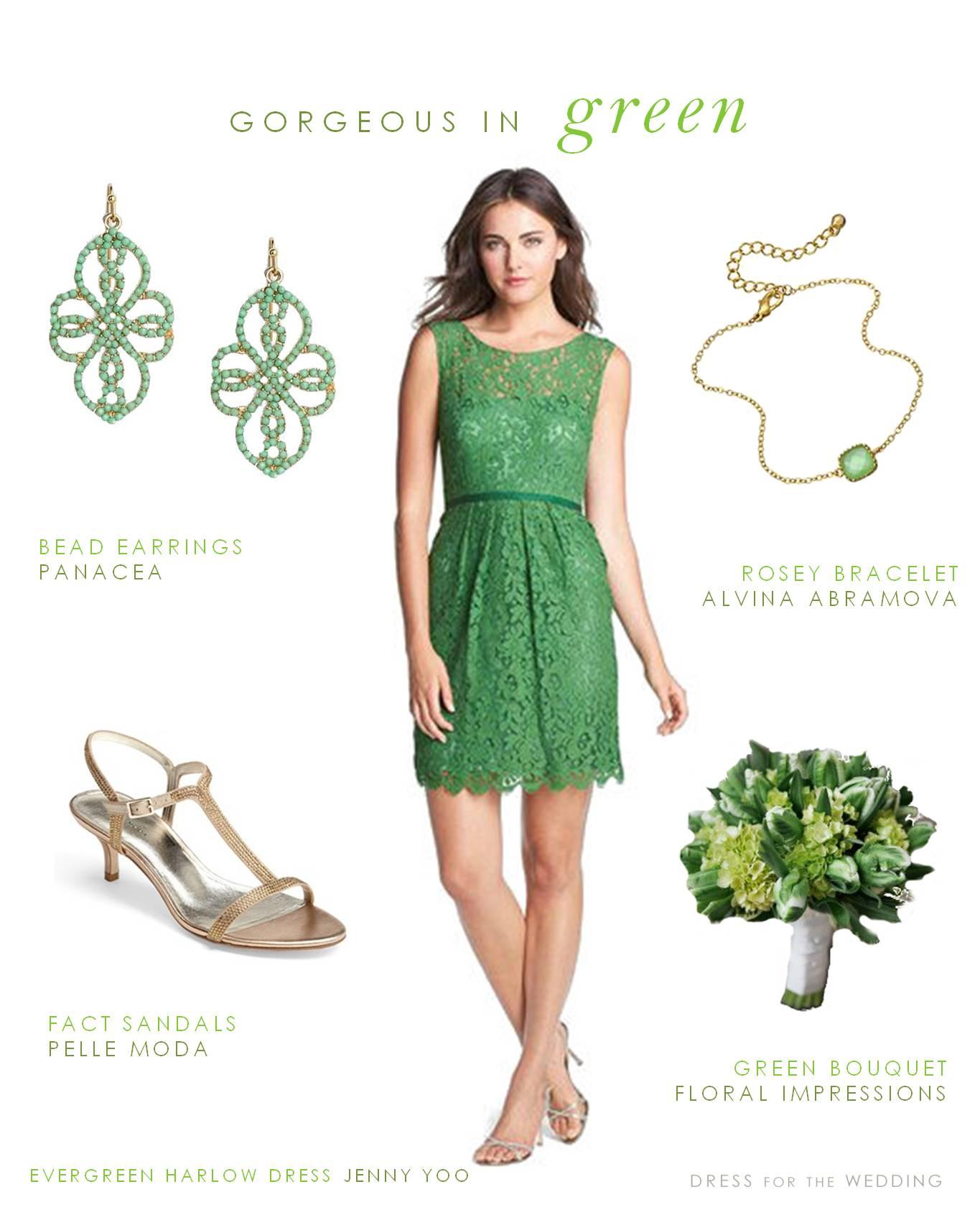 Green Lace Bridesmaid Dress