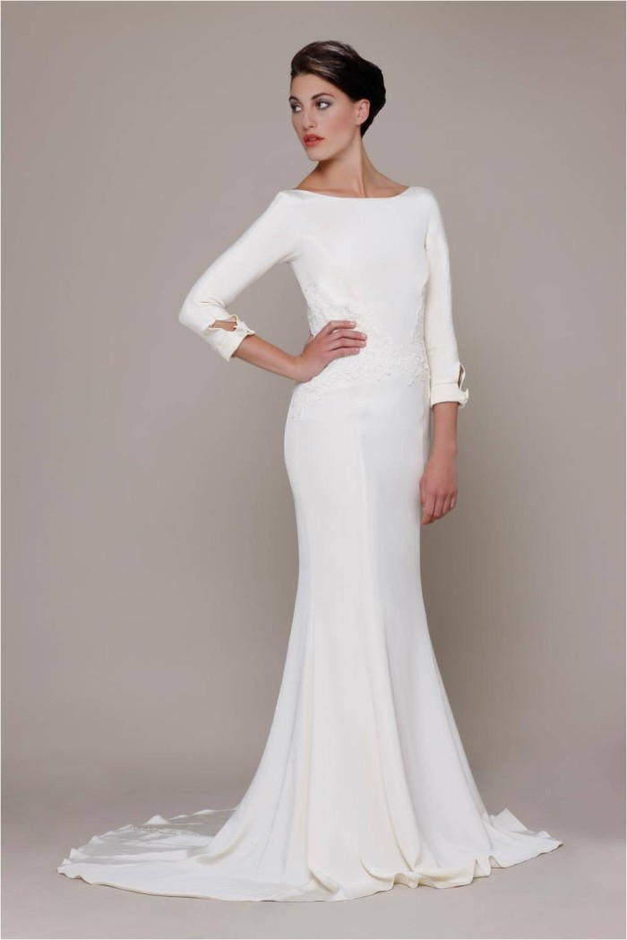 Elizabeth stuart bride white label 2014 for Simple long sleeve wedding dresses