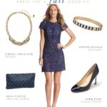 Navy Lace Short Sleeve Dress for a Wedding 2