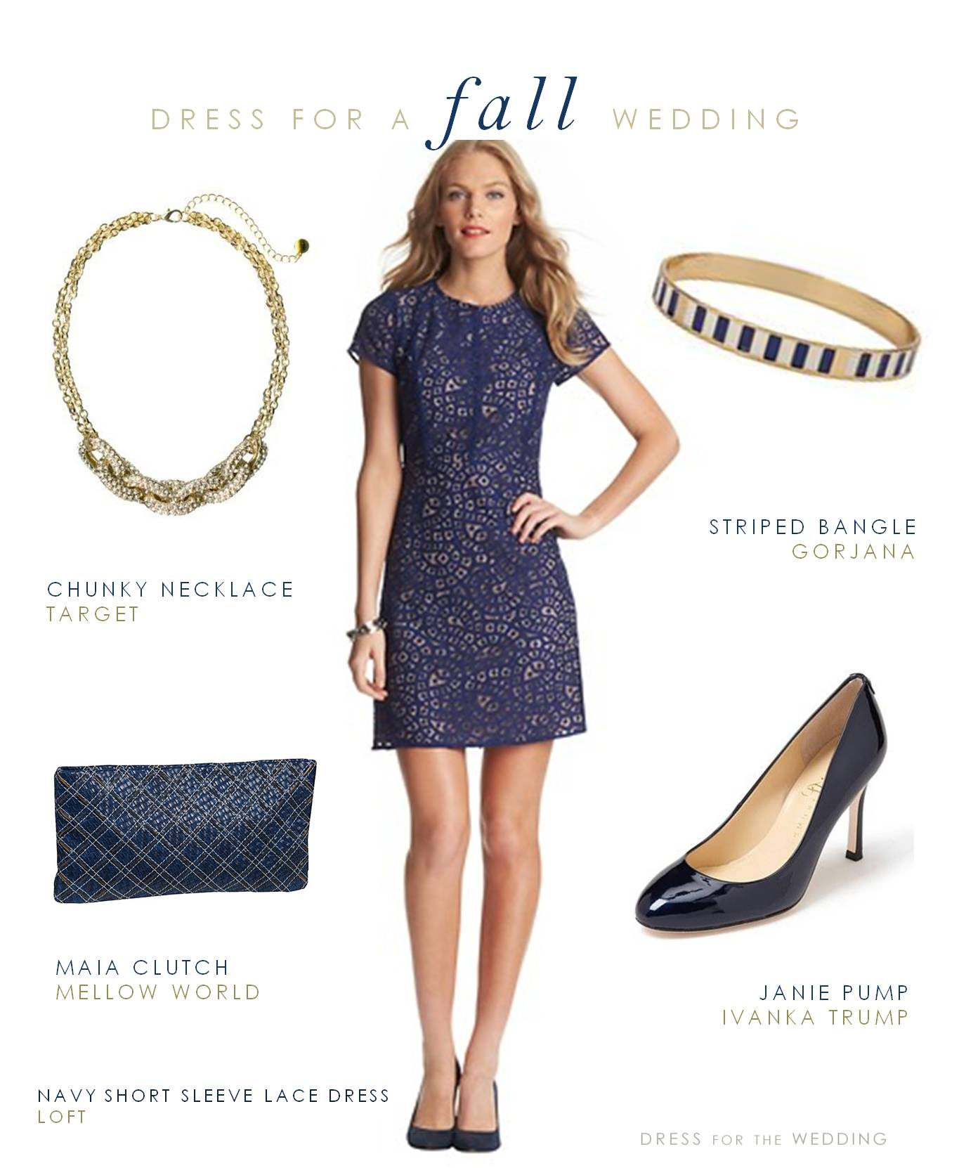 Navy lace short sleeve dress for Navy dress for fall wedding