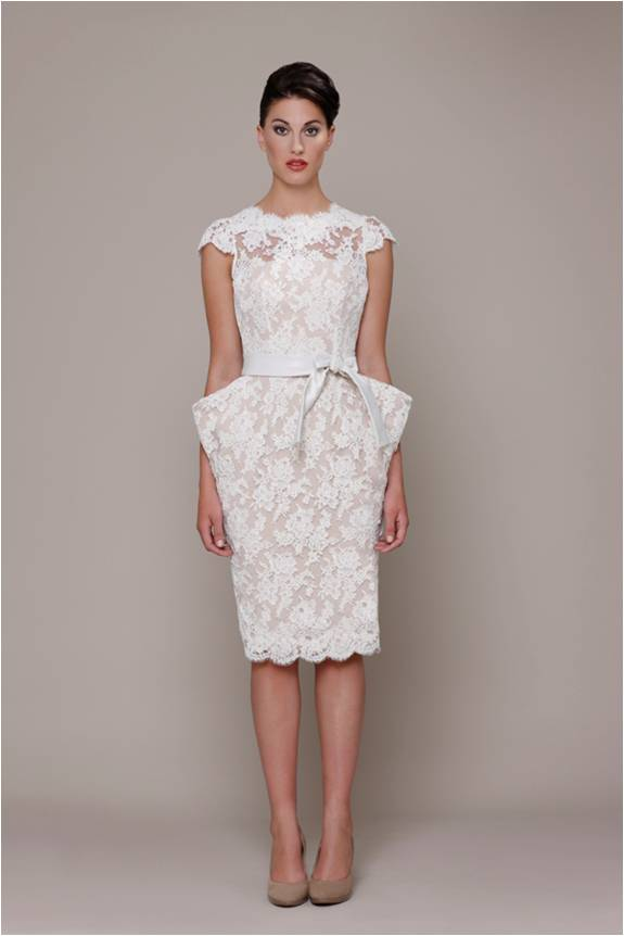 Elizabeth stuart bride white label 2014 short lace wedding dress 2014 junglespirit Choice Image