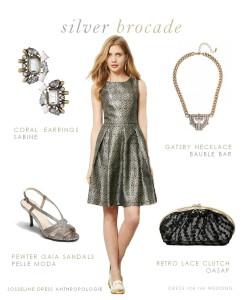 Silver Cocktail Dress , Silver Semi Formal Dress