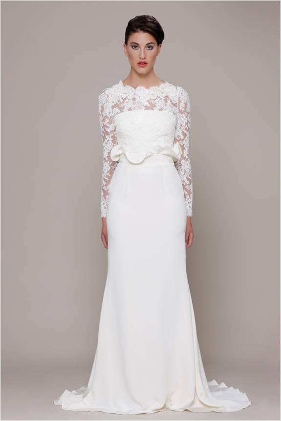 lace and ruffled waist Elizabeth Stuart Bridal