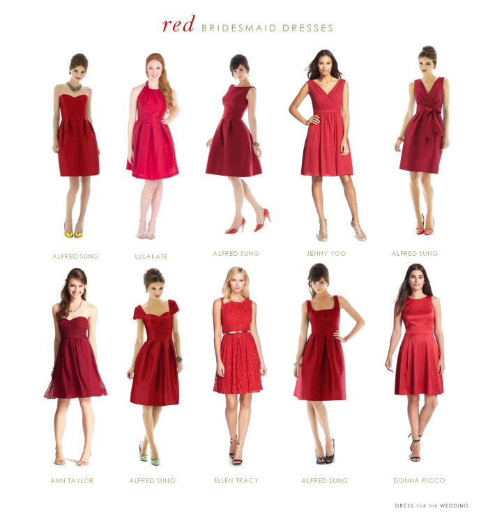 red bridesmaid dresses cocktail length