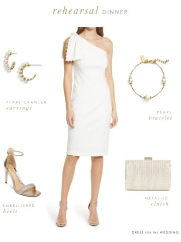 White dress, shoes, earrings, bracelet, and bag to illustrate what to wear to a wedding rehearsal as a bride.