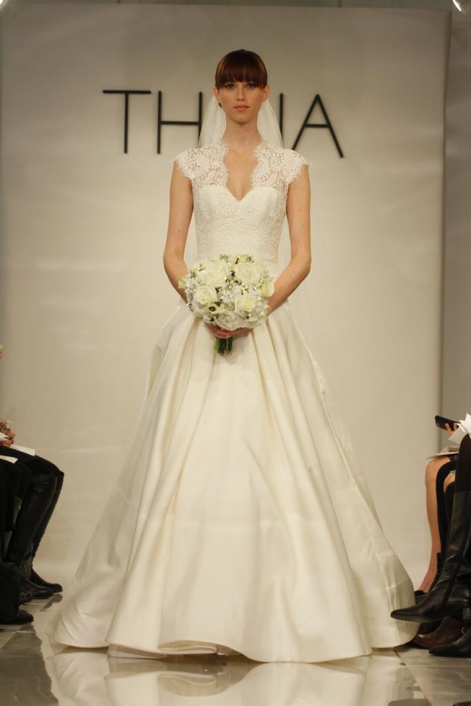 Bernadette by Theia Lace Bodice Wedding Dress