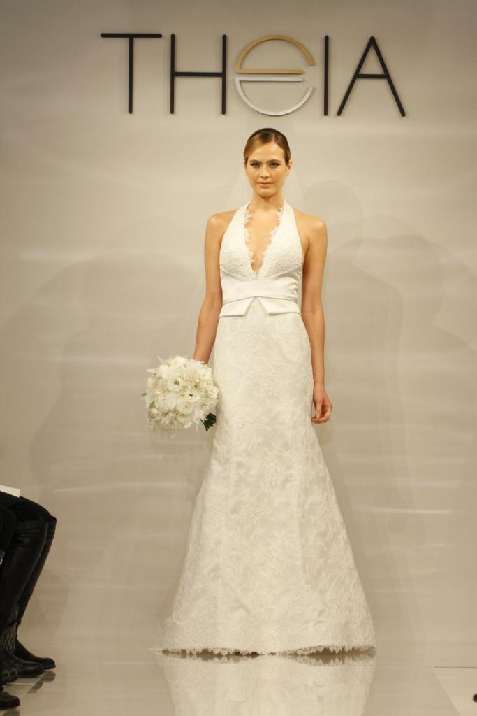 Bridgette Wedding Dress by Theia, Lace Halter Wedding Dress