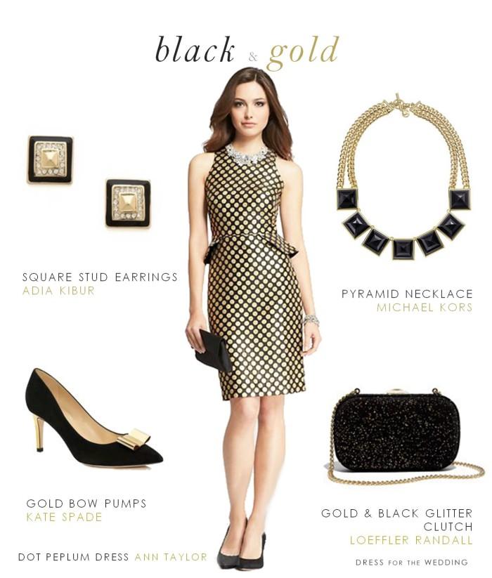 Black dress gold earrings