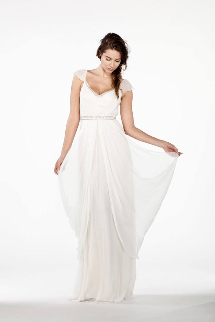 Cap Sleeve Wedding Dress by Saja 2014 Collection Style HB6365