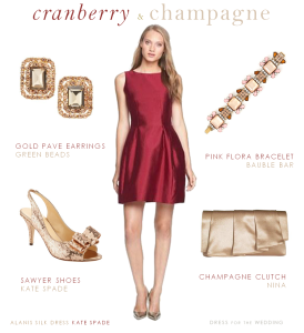 Cranberry Dress and Champagne Accessories Cranberry and Champagne