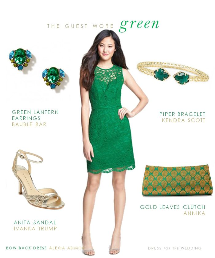 Green Bow Back Dress for a Wedding