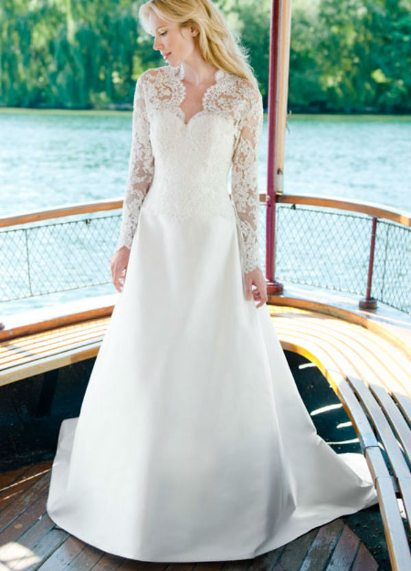 Katherine Lea Ann Belter Lace Long Sleeve Wedding Dress