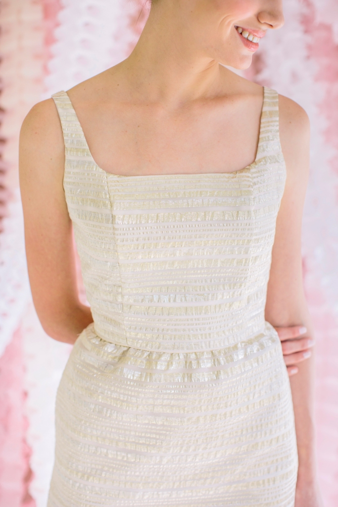 Samantha Little White Dress by Lulakate Gold Seersucker