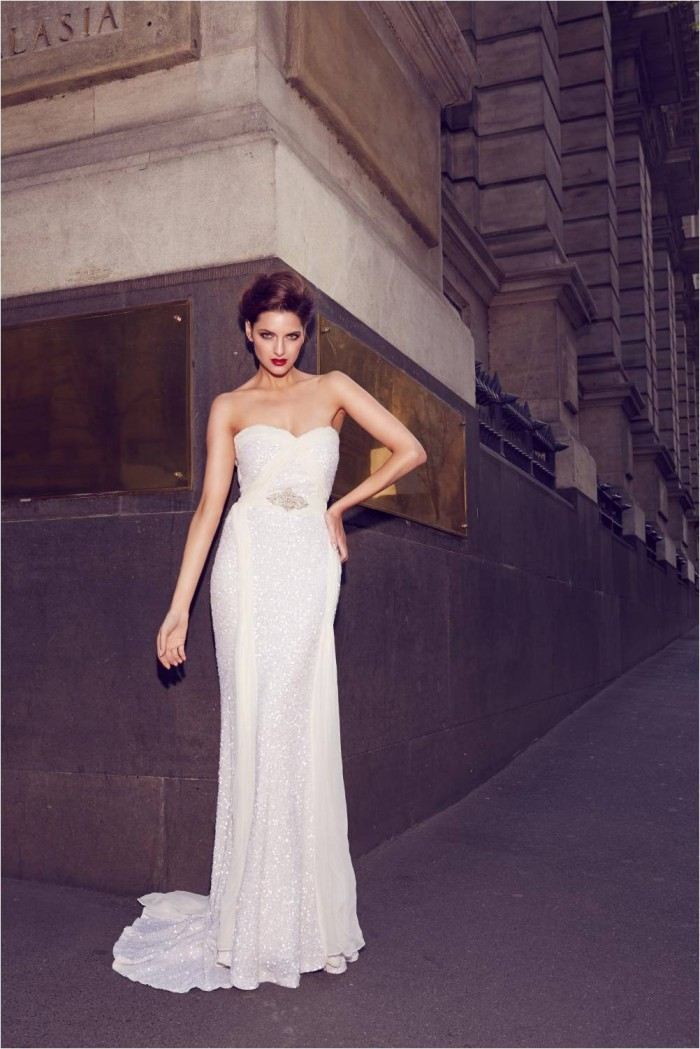 Taylor Sequin Wedding Gown Strapless